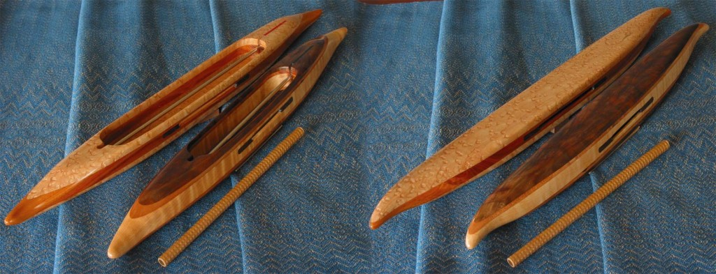 Quill shuttles with black walnut featherwood and bird's eye maple emphasis