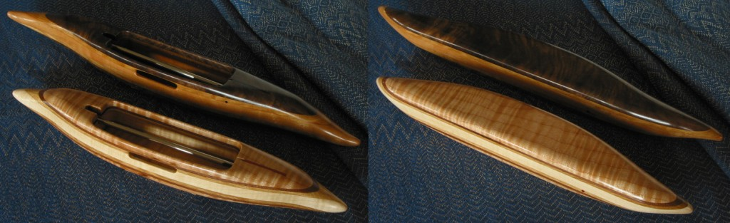 Shuttles with black walnut featherwood and big-leaf maple emphasis